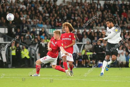 Derby County midfielder Tom Huddlestone (44) shoots at goal during the EFL Sky Bet Championship match between Derby County and Bristol City at the Pride Park, Derby