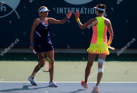 Stock Image of Lyudmyla Kichenok of the Ukraine and Galina Voskoboeva of Kazhakstan playing doubles