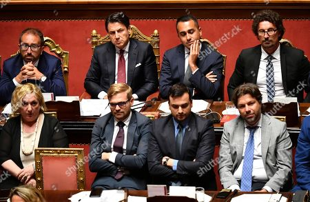 (L-R first row) Justice Minister Alfonso Bonafede, Italian Prime Minister Giuseppe Conte, Deputy Premier and Welfare Minister Luigi Di Maio, Transport Minister Danilo Toninelli at the Senate during the debate over the government crisis, Rome, Italy, 20 August 2019. Conte said that the government has come to an end and that he would resign.