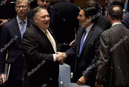 US Secretary of State Mike Pompeo (L) shake hands with Danny Danon, Israel's Permanent Representative to the United Nations, at a security council meeting at United Nations headquarters in New York, New York, USA, 20 August 2019. The meeting was for the promotion and strengthening of the rule of law in the maintenance of international peace and security.
