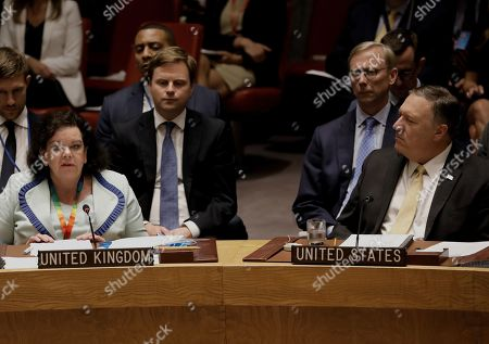 British ambassador to the United Nations Dame Karen Pierce speaks (L) as US Secretary of State Mike Pompeo listens at a security council meeting at United Nations headquarters in New York, New York, USA, 20 August 2019. The meeting was for the promotion and strengthening of the rule of law in the maintenance of international peace and security.
