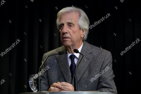 Stock Photo of Uruguayan President Tabare Vazquez delivers a press conference, in Montevideo, Uruguay, 20 August 2019, to announce he has a lung nodule, that could be malignant, and that he will be admitted to hospital for treatment soon.