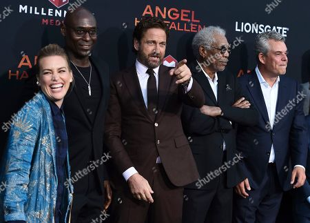"Piper Perabo, Lance Reddick, Gerard Butler, Morgan Freeman, Danny Huston. Piper Perabo, from left, Lance Reddick, Gerard Butler, Morgan Freeman and Danny Huston arrive at the Los Angeles premiere of ""Angel Has Fallen"" at the Regency Village Theatre on"