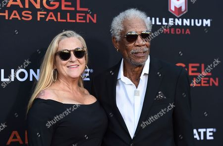 "Morgan Freeman, Lori McCreary. Morgan Freeman, right, and Lori McCreary arrive at the Los Angeles premiere of ""Angel Has Fallen"" at the Regency Village Theatre on"