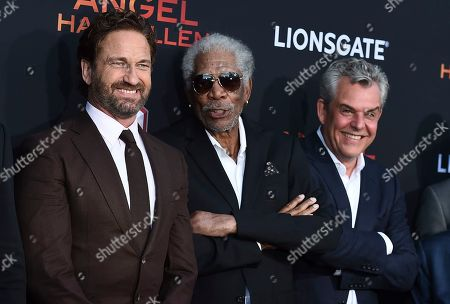 "Gerard Butler, Morgan Freeman, Danny Huston. Gerard Butler, from left, Morgan Freeman and Danny Huston arrive at the Los Angeles premiere of ""Angel Has Fallen"" at the Regency Village Theatre on"