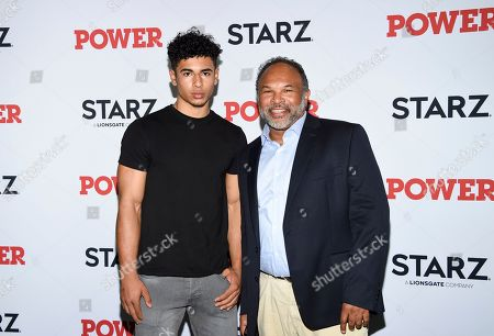 """Geoffrey Owens, right, and son Jordan attend the world premiere of the final season of the Starz television series """"Power,"""" at Madison Square Garden, in New York"""