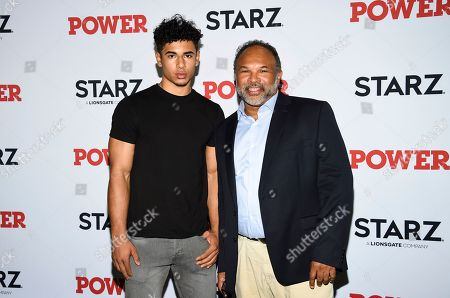 """Jordan Owens, Geoffrey Owens. Actor Geoffrey Owens, right, and son Jordan attend the world premiere of the Starz television series """"Power"""" final season at Madison Square Garden, in New York"""