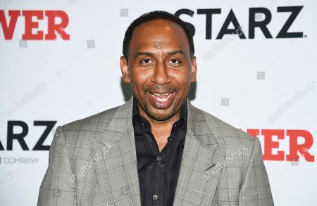 """Stock Image of Stephen A. Smith attends the world premiere of the Starz television series """"Power"""" final season at Madison Square Garden, in New York"""