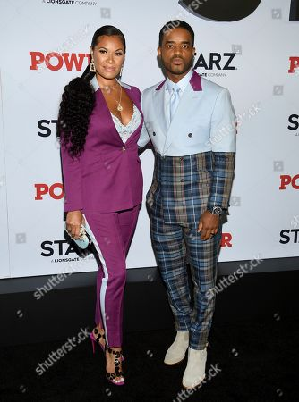 """Tomasina Parrott, Larenz Tate. Actor Larenz Tate, right, and Tomasina Parrott attend the world premiere of the Starz television series """"Power"""" final season at Madison Square Garden, in New York"""