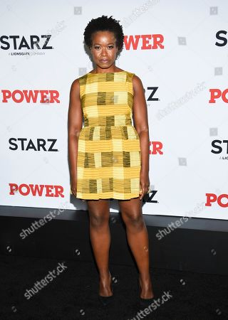 """Stock Photo of Quincy Tyler Bernstine attends the world premiere of the Starz television series """"Power"""" final season at Madison Square Garden, in New York"""