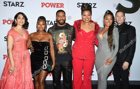 "Stock Picture of Lela Loren, Naturi Naughton, Omari Hardwick, Courtney A. Kemp, La La Anthony, Joseph Sikora. Actors Lela Loren, left, Naturi Naughton, Omari Hardwick, Courtney A. Kemp, La La Anthony and Joseph Sikora pose together at the world premiere of the Starz television series ""Power"" final season at Madison Square Garden, in New York"