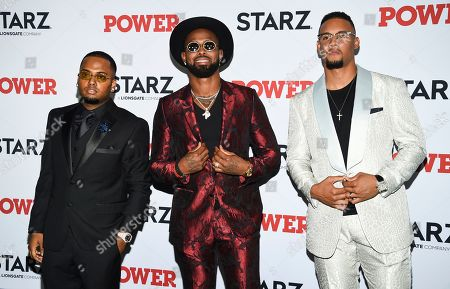 """DJ SpinKing, Jose Reyes, Carlos Gomez. DJ SpinKing, left, and professional baseball players Jose Reyes and Carlos Gomez attend the world premiere of the Starz television series """"Power"""" final season at Madison Square Garden, in New York"""