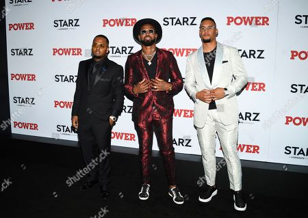 """Stock Picture of DJ SpinKing, Jose Reyes, Carlos Gomez. DJ SpinKing, left, and professional baseball players Jose Reyes and Carlos Gomez attend the world premiere of the Starz television series """"Power"""" final season at Madison Square Garden, in New York"""