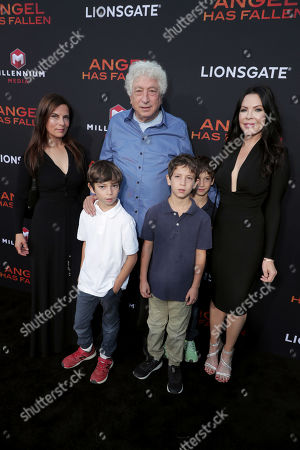 Stock Image of Lati Grobman, Executive Producer Avi Lerner, Christa Grobman and Lati's children Luca Grobman, Dylan Grobman and Daniel Grobman