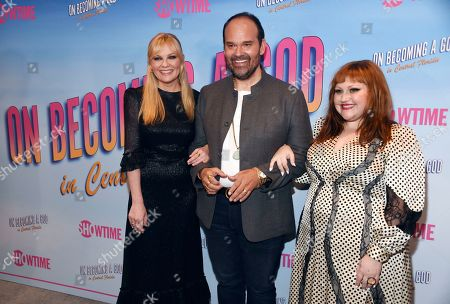 """Kirsten Dunst, Mel Rodriguez, Beth Ditto. From left, Kirsten Dunst, Mel Rodriguez and Beth Ditto, cast members in the Showtime series """"On Becoming a God in Central Florida,"""" pose together at a screening of the show at the London West Hollywood, in West Hollywood, Calif"""