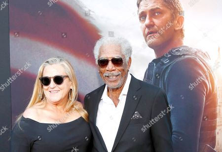 Lori McCreary (L) and US actor/cast member Morgan Freeman arrive for the premiere of Lionsgate's 'Angel Has Fallen' at the Regency Village Theater in Los Angeles, California, USA, 20 August 2019. The movie opens in US theaters on 23 August 2019.