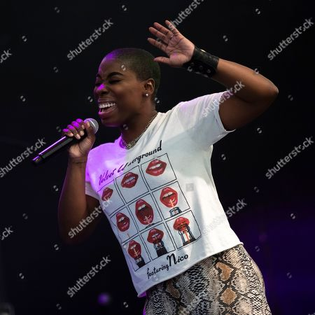 Singer Jessy Wilson performs on stage at the Trombone Shorty & Orleans Avenue/Ben Harper & The Innocent Criminals co-headlining tour at the MECU Pavilion, in Baltimore