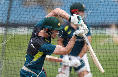 Australia's Cameron Bancroft bats during a nets training session at Headingley cricket ground in Leeds, England . England will play Australia at Headingley in the third Ashes test match, starting on Thursday Aug. 22