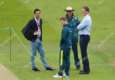 Mitchell Johnson, Steve Smith and Glen McGrath discuss the pitch during day one of the 3rd Specsavers Ashes Test Match, at Headingley Cricket Ground, Leeds, England.