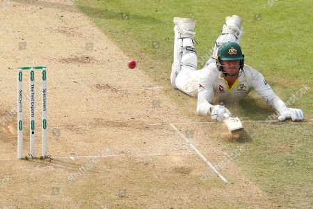 LEEDS, ENGLAND. 24 AUGUST 2019: James Pattinson of Australia dives to make his ground during day three of the 3rd Specsavers Ashes Test Match, at Headingley Cricket Ground, Leeds, England.