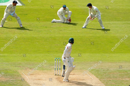 LEEDS, ENGLAND. 24 AUGUST 2019: James Pattinson of Australia looks back to see Joe Root of England catch the ball during day three of the 3rd Specsavers Ashes Test Match, at Headingley Cricket Ground, Leeds, England.