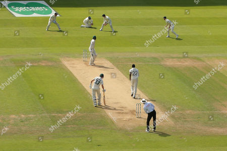 LEEDS, ENGLAND. 24 AUGUST 2019: Joe Root of England catches the ball to dismiss James Pattinson of Australia off the bowling of Jofra Archer, during day three of the 3rd Specsavers Ashes Test Match, at Headingley Cricket Ground, Leeds, England.