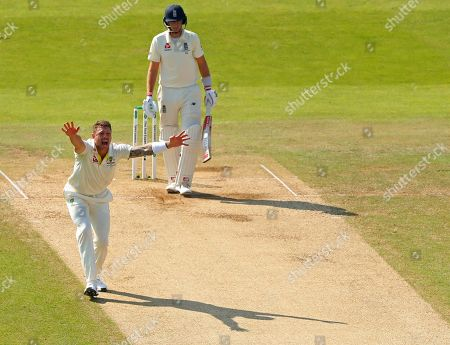 LEEDS, ENGLAND. 25 AUGUST 2019: James Pattinson of Australia makes an unsuccessful appeal for the wicket of Joe Root of England during day four of the 3rd Specsavers Ashes Test Match, at Headingley Cricket Ground, Leeds, England.