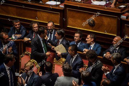 Stock Photo of Matteo Salvini, Gianmarco Centinaio, Giulia Bongiorno, Luigi Di Maio, Alfonso Bonafede, Danilo Toninelli, Giuseppe Conte