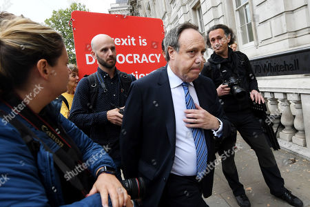 Nigel Dodds, Deputy Leader of the DUP, arrives at the Cabinet Office.