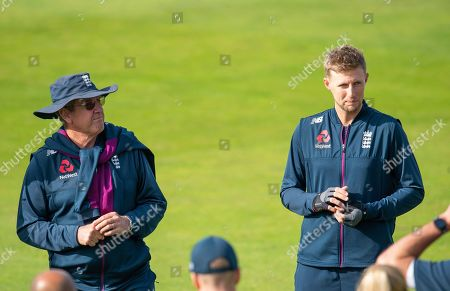 England's coach Trevor Bayliss with captain Joe Root.