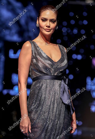 Bollywood actress Esha Gupta presents a creation by Indian designer Pallavi Mohan during the Lakme Fashion Week (LFW) Winter/Festive 2019 in Mumbai, India, 21 August 2019. More than 75 designers are showcasing their collections at the event until 25 August.