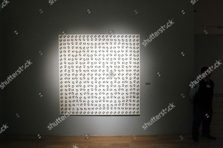 View of one of the works of Argentine artist Julio Le Parc at his exhibition in Buenos Aires, Argentina, 20 August 2019 (issued 21 August 2019). The Fine Arts Museum in Buenos Aires presents some of the works of the artist between 1955 and 1959, before his depart to Paris where his way of understanding arts changed completely.