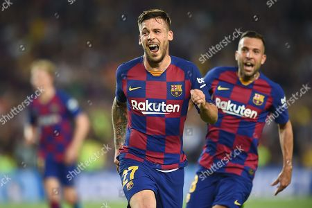 Carlos Perez of FC Barcelona celebrates his goal (3-1)
