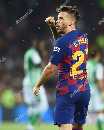 Carlos Perez of FC Barcelona celebrates the 3-1