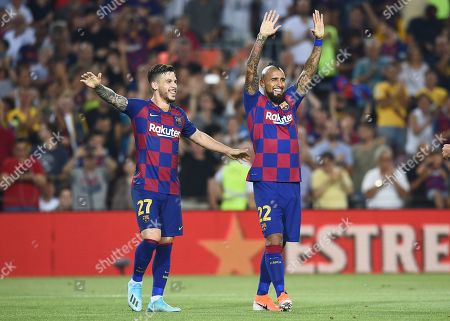 Stock Picture of Arturo Vidal of FC Barcelona celebrates his goal (5-1) with his teammate Carlos Perez