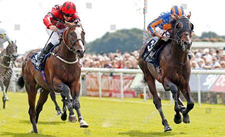 VALDERMORO (left, Tony Hamilton) beats HARPOCRATES (right) in The Tattersalls Acomb Stakes York