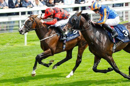 Valdermoro and Tony Hamilton [left] just beats Harpocrates in the Tattersalls Acomb Stakes at York.