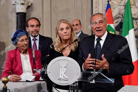(L-R) Gruppo Misto (Mixed Group) members of the Senate, Emma Bonino Riccardo Nencini, Loredana De Petris and Pietro Grasso address the media after a meeting with Italian President Sergio Mattarella at the Quirinale Palace for the first round of formal political consultations following the resignation of Prime Minister Giuseppe Conte, in Rome, Italy, 21 August 2019.
