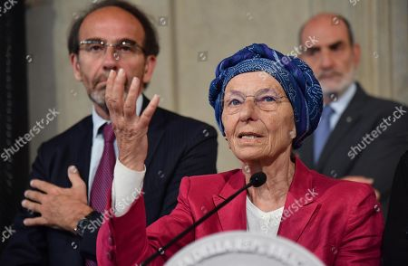 Emma Bonino (R), Coordinator of the 'More Europe with Emma Bonino ' component of the Senate, with Riccardo Nencini (L), Vice President of the Mixed Group and Coordinator of the PSI component of the Senate, address the media after a meeting with Italian President Sergio Mattarella at the Quirinale Palace for the first round of formal political consultations following the resignation of Prime Minister Giuseppe Conte, in Rome, Italy, 21 August 2019.