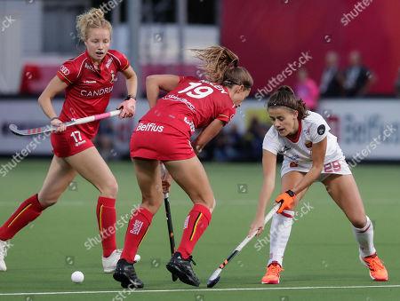 Barbara Nelen of Belgium (C) and Lucia Jimenez of Spain (R) in action during the EuroHockey 2019 Women match between Belgium and Spain in Antwerp, Belgium, 21 August 2019.
