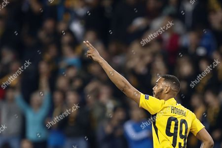 Young Boys' Guillaume Hoarau celebrates after scoring the 2-2 equalizer from the penalty spot during the UEFA Champions League playoff, first leg soccer match between BSC Young Boys and Red Star Belgrade in Bern, Switzerland, 21 August 2019.