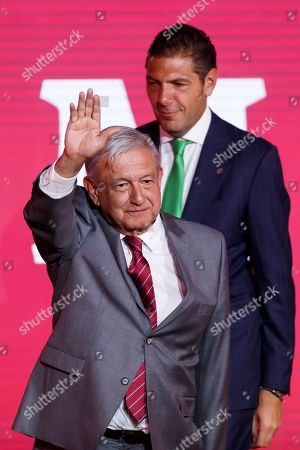 President of Mexico Andres Manuel Lopez Obrador, next to the Chairman of the Board of Directors of Grupo Financiero Banorte Carlos Hank Gonzalez, participates in the Banorte Strategy Forum, in Mexico City, Mexico, 21 August 2019. The Mexican economy has slowed more than expected and has widened the gap between its potential and real growth, Mexico's central bank governor Alejandro Diaz de Leon said during an economic forum in the capital.