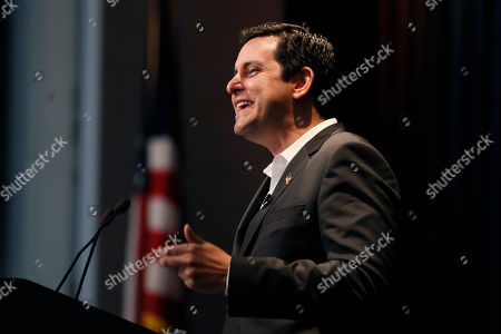 Stock Image of Democratic presidential candidate and stand-up comedian Ben Gleib speaks at the Iowa Federation of Labor convention, in Altoona, Iowa