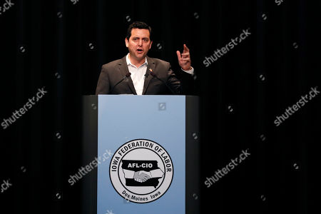 Democratic presidential candidate and stand-up comedian Ben Gleib speaks at the Iowa Federation of Labor convention, in Altoona, Iowa