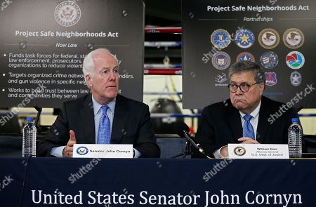 Attorney General William Barr (R) along with Senator John Cornyn (L) talk with people at the North Lake Highlands Youth Boxing Gym in Dallas, Texas, USA, 21 August 2019. Attorney General William Barr is in Dallas, Texas to promote Project Safe Neighborhoods.