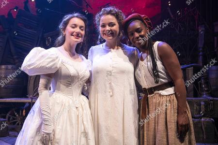 Lily Kerhoas (Cosette), Carrie Hope Fletcher (Fantine) and Shan Ako (Eponine) backstage