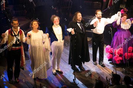 Bradley Jaden (Enjolras), Carrie Hope Fletcher (Fantine), Matt Lucas (Thenardier), Michael Ball (Javert), Alfie Boe (Jean Valjean) and Katy Secombe (Madame Thenardier) during the curtain call