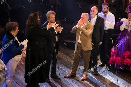 Matt Lucas (Thenardier), Michael Ball (Javert), Claude-Michel Schonberg (Music), Alain Boublil (Author), Cameron Mackintosh (Producer) and Alfie Boe (Jean Valjean) during the curtain call