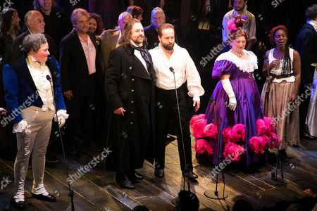 Matt Lucas (Thenardier), Claude-Michel Schonberg (Music), Alain Boublil (Author), Michael Ball (Javert), Alfie Boe (Jean Valjean), Katy Secombe (Madame Thenardier) and Shan Ako (Eponine) during the curtain call