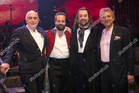 Claude-Michel Schonberg (Music), Alfie Boe (Jean Valjean), Michael Ball (Javert) and Alain Boublil (Author) backstage